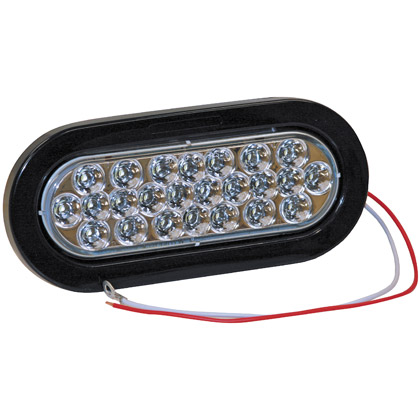 "Picture of 6-1/2"" 24 LED Clear Oval Back-Up Light with Grommet and PL2 Plug"