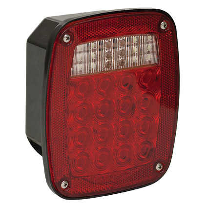 "Picture of 5-3/4"" 38 LED Red 3-Stud Box Style Stop/Turn/Tail Light with License Plate Light"