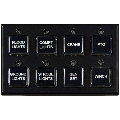 Picture of 8 Function Illuminated-On Prewired Programmable Switch Panel for 6383060 & 6383061