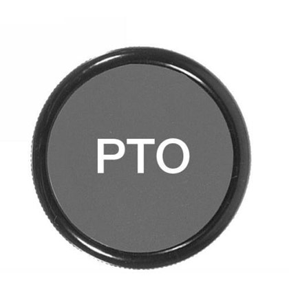 "Picture of 2"" Cable Knob - Lettered ""PTO"" - 3/8""-24 Thd."