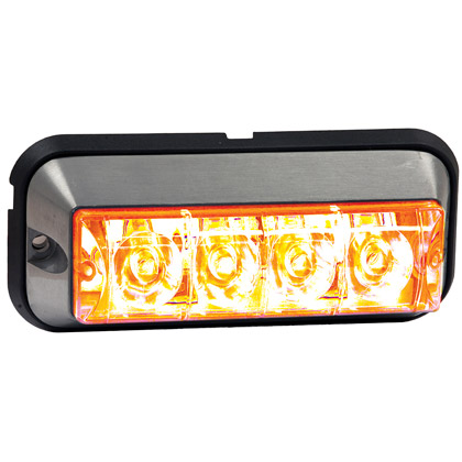 "Picture of 4-7/8"" 4 LED Amber Rectangular Strobe Light - 392 FPM - Quad Flash"