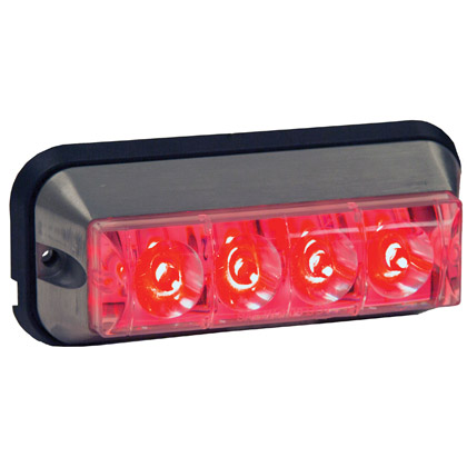 "Picture of 4-7/8"" 4 LED Red Rectangular Strobe Light - 392 FPM - Quad Flash"