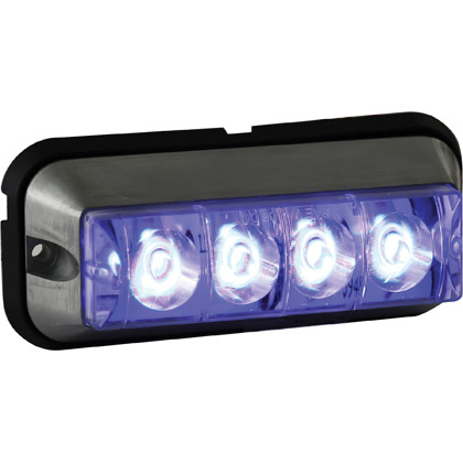 "Picture of 4-7/8"" 4 LED Blue Rectangular Strobe Light - 392 FPM - Quad Flash"