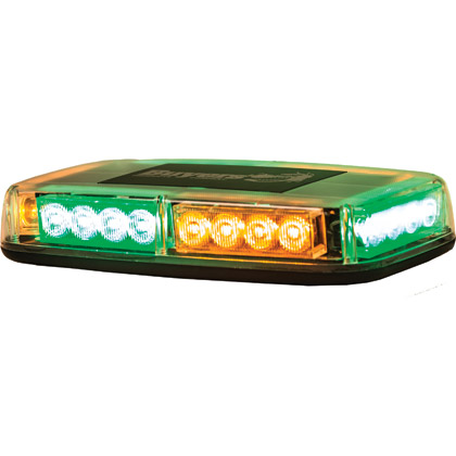 Picture of 12V DC, 2 Amp 12 Amber, 12 Green LED Minilight Bar - Magnetic Mount