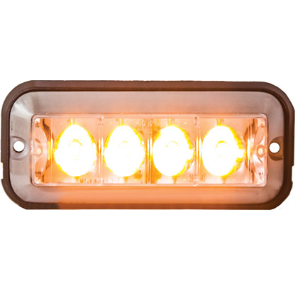 "Picture of 4-7/8"" Amber 4 LED Rectangular Strobe Light"