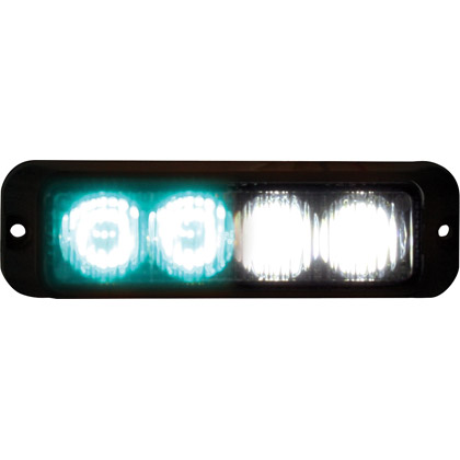 "Picture of 4-3/4"" 2-Clear, 2-Green LED Surface Mount Mini Strobe Light"