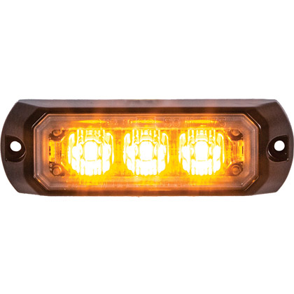"Picture of 3-2/5"" 3 LED Amber Rectangular Surface Mount Mini Strobe Light"
