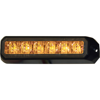 "Picture of 5"" 6 LED Amber Aluminum Mini Strobe Light Surface Mount"
