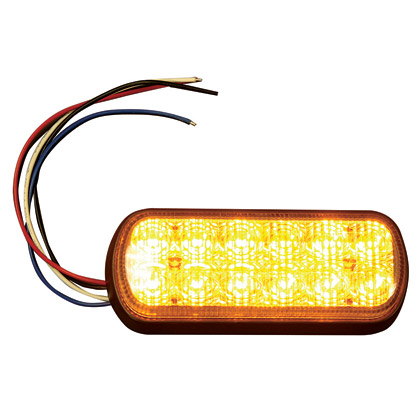 "Picture of 5"" 12 LED Amber Rectangular Strobe Light"