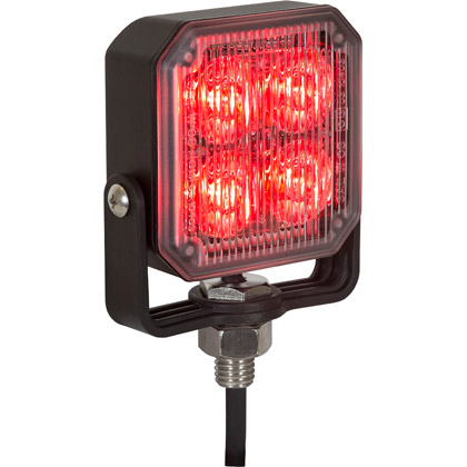 "Picture of 2.85"" 4 LED Red Aluminum Square Strobe Light"