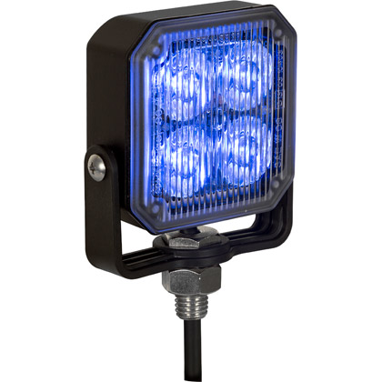 "Picture of 2.85"" 4 LED Blue Aluminum Square Strobe Light"