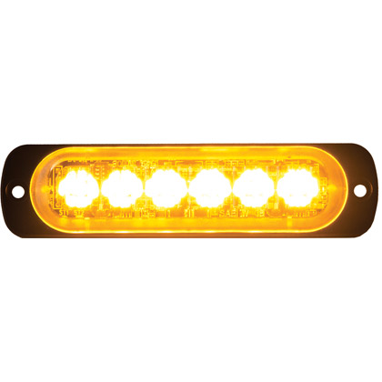 "Picture of 4.375"" 6 LED Amber Aluminum Thin Mount Horizontal Strobe Light"