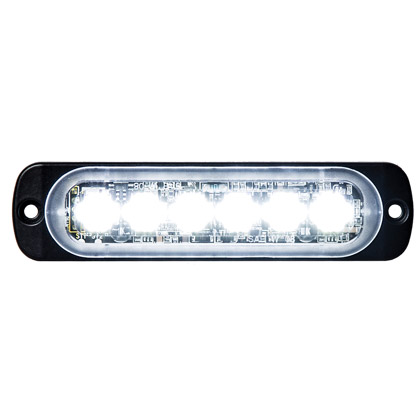 "Picture of 4.375"" 6 LED Clear Aluminum Thin Mount Horizontal Strobe Light"