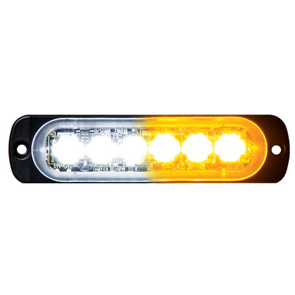 "Picture of 4.375"" 3-Amber, 3-Clear LED Aluminum Thin Mount Horizontal Strobe Light"