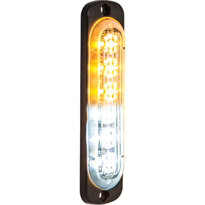 "Picture of 4.375"" 3-Amber, 3-Clear LED Aluminum Thin Mount Vertical Strobe Light"