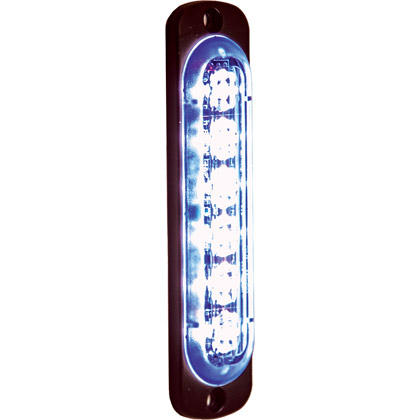 "Picture of 4.375"" 6 LED Blue Aluminum Thin Mount Vertical Strobe Light"