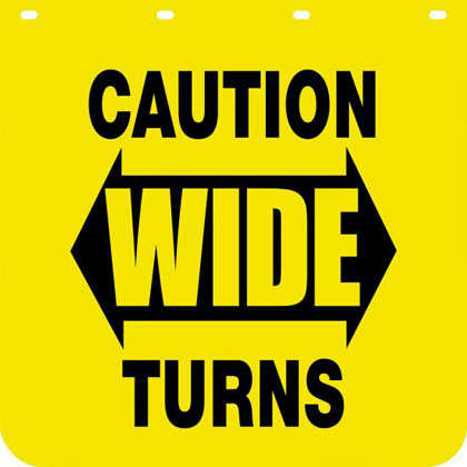 "Picture of Yellow Polymer Mudflaps - ""Caution Wide Turns"" - 24"" W x 24"" H - Pair"