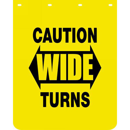"Picture of Yellow Polymer Mudflaps - ""Caution Wide Turns"" - 24"" W x 30"" H - Pair"
