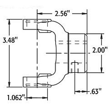 "Picture of B1310 Series End Yoke - 1-1/4"" Round - 1/4"" KW"