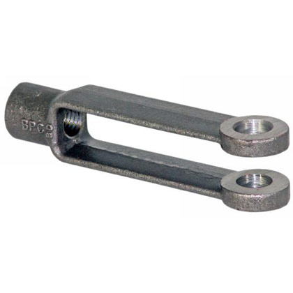 "Picture of 5/16"" Adjustable Yoke End - Fin. Tapped 1/4""-28 - Zinc"