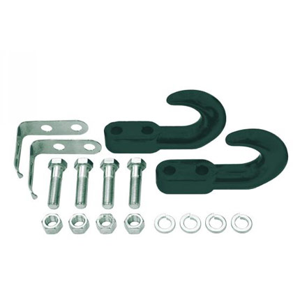 Picture of 10000# Black Powder Coated Drop Forged Towing Hooks for Light-Duty (Set of 2) with Safety Clips and Bolt Kit