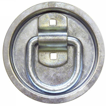 "Picture of 1/2"" Forged D-Ring with 2-Hole Mounting Bracket - 3-1/2"" x 3-3/8"" O.D with Round Recessed Pan"