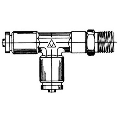 "Picture of DOT Swivel Male Run Tee - 3/8"" x 1/4"" Pipe Thread"