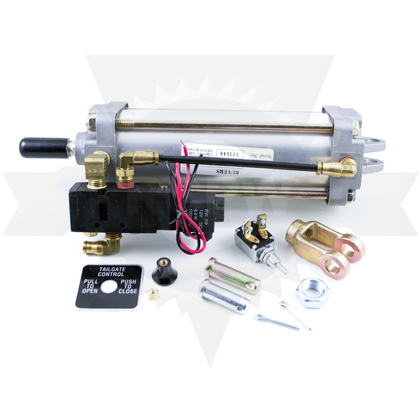 """Picture of 2-1/2"""" x 6"""" Tie Rod Style PNEU Tailgate Rear Clevis Cylinder with Solenoid and Switch - ONLY 1 LEFT"""