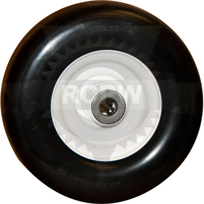 "Picture of 9x3.50-4 Flat Free Tire with 4"" Centered Hub"
