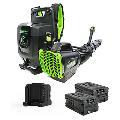 Picture of 82V Commercial 690CFM Brushless Backpack Greenworks Blower Kit - Includes (2) GL-500 5.0 Ah Batteries and (1) GC-420 Dual Port Charger