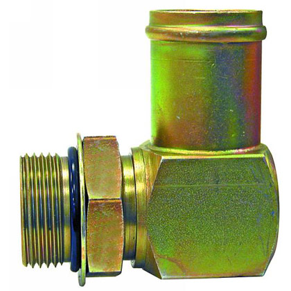 "Picture of 90 Degree Straight Thread Hose Connector - 1-1/4"" Male Pipe Thread x 1"" Hose ID"