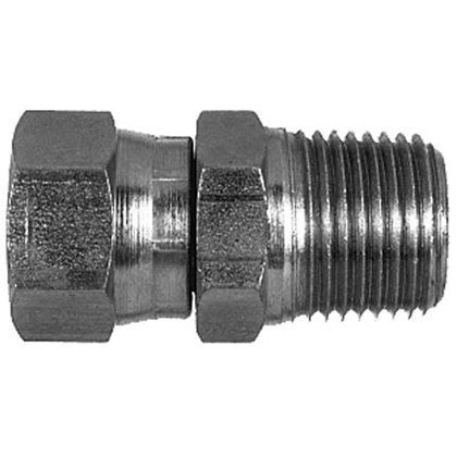 "Picture of Female Pipe Swivel to Male Pipe Straight - 1/4"" NPSM Swivel Nut x 3/8"" Male Pipe Thread"