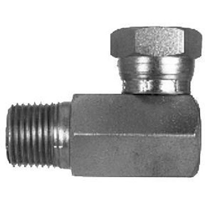 Picture of Female Pipe Swivel to Male Pipe 90 Degree Elbow - 1/2-14 NPSM Swivel Nut - 3/8-18 Male Pipe Thread