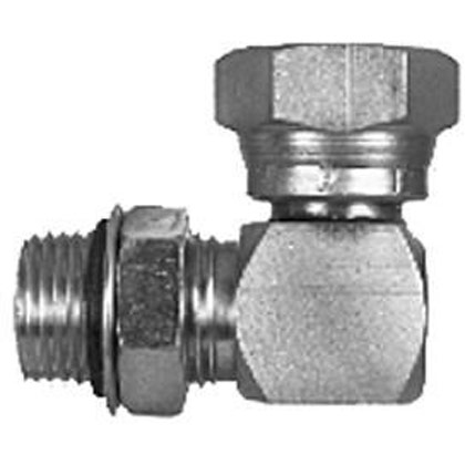 Picture of Male Straight Thread to Female Pipe Swivel 90 Degree Elbow - 7/16-20 Straight Thread x 3/8-18 NPSM Swivel Nut