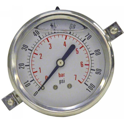 "Picture of Pressure Gauge - Panel Clamp (0-100 PSI) - Standard Stem is 1/4"" NPT"