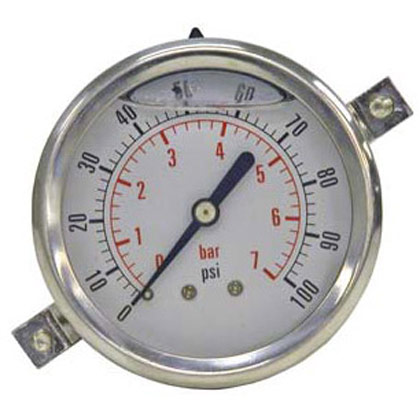 "Picture of Pressure Gauge - Panel Clamp (0-160 PSI) - Standard Stem is 1/4"" NPT"