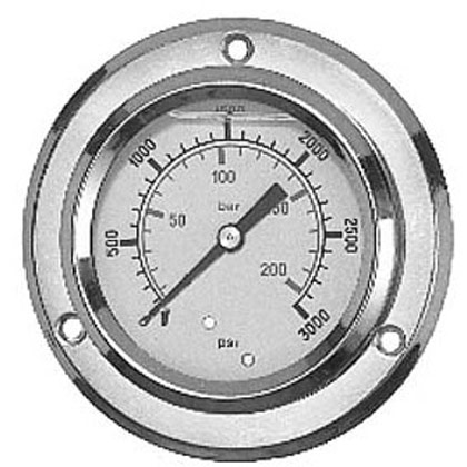 "Picture of Pressure Gauge - Panel Flange (0-5000 PSI) - Standard Stem is 1/4"" NPT"