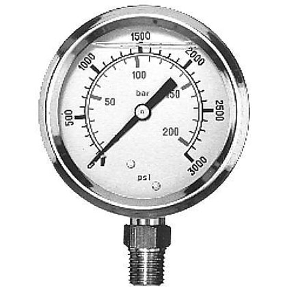 "Picture of Pressure Gauge (0-3000 PSI) - Standard Stem is 1/4"" NPT"
