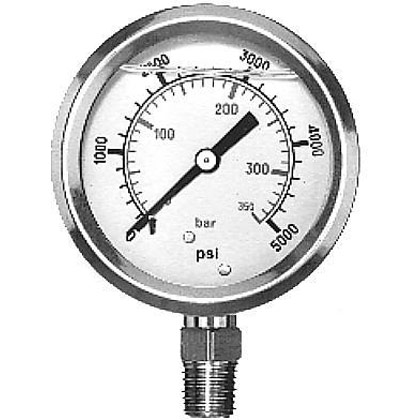 "Picture of Pressure Gauge (0-5000 PSI) - Standard Stem is 1/4"" NPT"