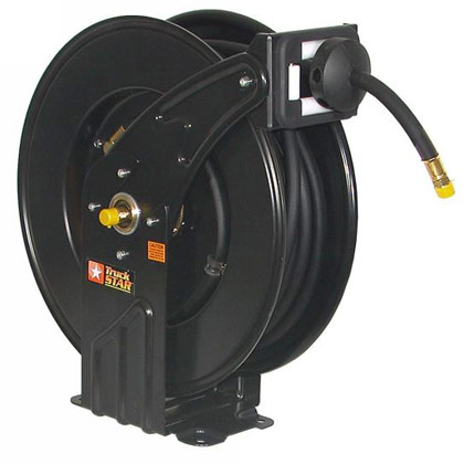 """Picture of 1/2"""" x 50 Black Hose and Steel Reel (air/water)"""