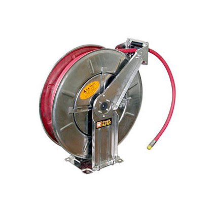 "Picture of 3/8"" x 50' Red Hose and Stainless Steel Reel (air/water)"