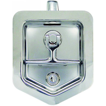 Picture of Zinc Plated Folding T-Handle Latch with Single Latch Point and Mounting Holes