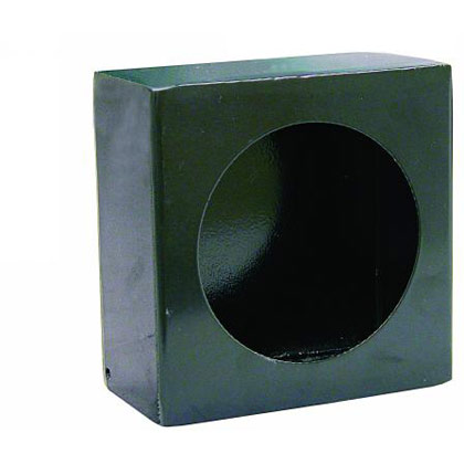 Picture of Single Round Light Box with Side Light - Black Powder Coated Steel