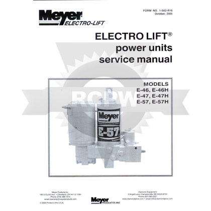 Picture of Service and Repair Manual for E-46, E-47, E-47H, E-57 and E-57H Quik-Lift Power Units / Pumps