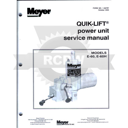 Picture of Service and Repair Manual for E-60 and E-60H Quik-Lift Power Units / Pumps
