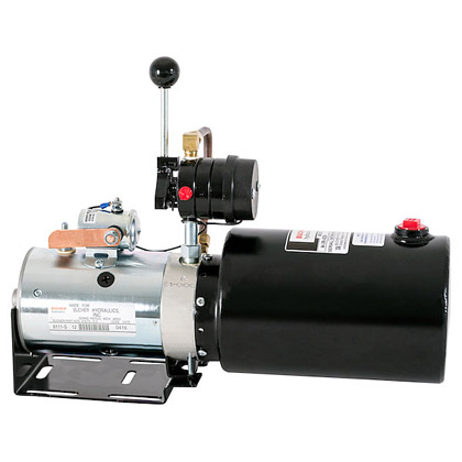 "Picture of Manual 4-Way Valve DC Power Unit - 6"" x 9"" 1 Gallon Usable Steel Reservoir (217 cubic in.)"