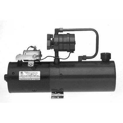"Picture of Manual 4-Way Valve DC Power Unit - 6-1/4"" x 7"" x 15"" 2.2 Gallon Usable Steel Reservoir (510 cubic in.)"