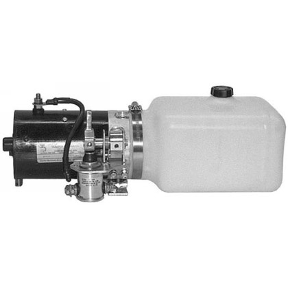 "Picture of Manual 3-Way Release Valve DC Power Unit - 5-1/2"" x 6-1/2"" x 10"" .86 Gallon Usable Poly Reservoir (199 cubic in.)"