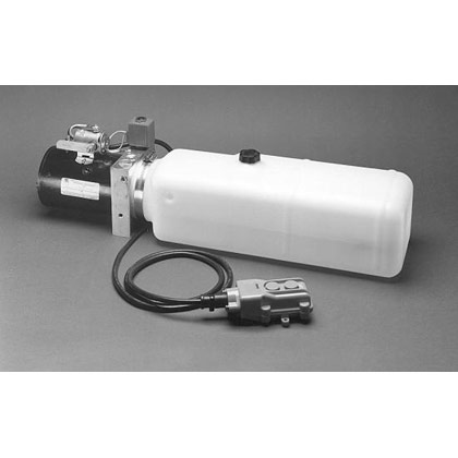 "Picture of Electric 3-Way Release Valve DC Power Unit - 5-1/2"" x 6-1/2"" x 19"" 1.87 Gallon Usable Steel Reservoir (432 cubic in.)"