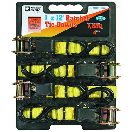 "Picture of 1"" x 12' Ratchet Tie Downs - 4 Pack"